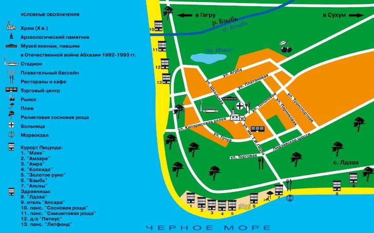 Карта Пицунды