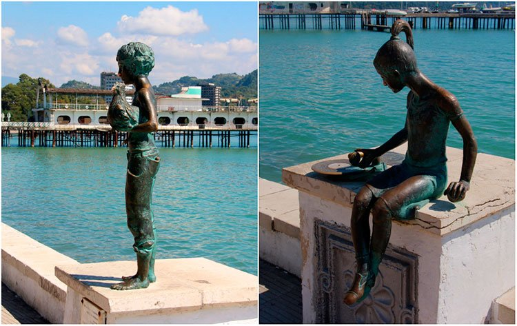 Скульптуры «Чик с курицей» и «Ника с пластинкой»
